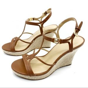 Michael Kors Cicely Leather Strappy Wedge Sandals
